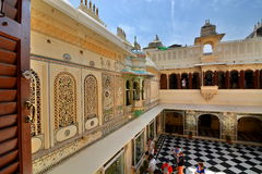 Inside view. City Palace. Udaipur. Rajasthan. India. City Palace, Udaipur, is a palace complex in Udaipur, in the Indian state Rajasthan. It was built over a Stock Photo