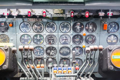 Inside view cockpit airplane. Stock Photos