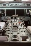 Inside view Cockpit G550. With blue sky and clouds Royalty Free Stock Images