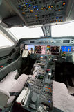 Inside view Cockpit G550. With blue sky and clouds Stock Photo