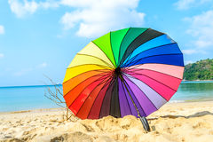 Inside view colourful umbrella and beach background Royalty Free Stock Image
