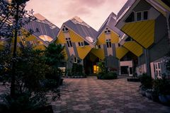 Inside view of Cubic houses, Rotterdam. Purple tint. Modern and generic architecture Stock Photos