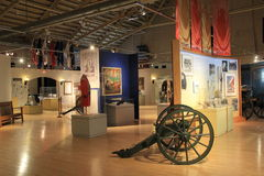 Inside view of displays in main room,New York State Military Museum and Veterans Research Center,Saratoga,2015 Stock Image