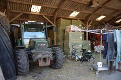 Inside view of a farmers barn stock photo