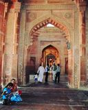 Inside view of Fatehpur Sikri Mosque stock photos