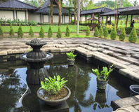 Inside view of garden at Borobudur temple in Jogja, Indonesia Royalty Free Stock Photography