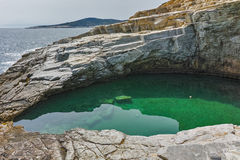 Inside view of Giola Natural Pool in Thassos island, Greece Royalty Free Stock Images