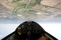 Inside view in a glider. Focus on the ground Royalty Free Stock Photo