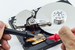 Inside view of hard disk computer Royalty Free Stock Photography