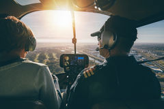 Inside view of a helicopter in flight Stock Images