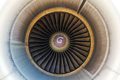 Inside view jet engine. View inside a large high power jet engine Royalty Free Stock Images
