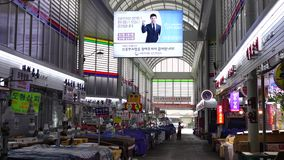 Inside view of local market in Seoul, Korea.  stock footage