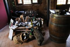 Local winery in the medieval town of Offida in central Italy. Inside view of local winery in the medieval town of Offida. Offida produces various types of fine royalty free stock images