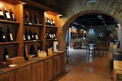 Local winery in the medieval town of Offida in central Italy. Inside view of local winery in the medieval town of Offida. Offida produces various types of fine royalty free stock photos
