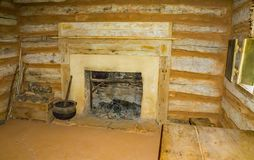 Inside view of a log Cabin. Hardy, VA – May 6th; An inside view of a log cabin at the Booker T Washington Monument located in Hardy, Virginia, USA on May stock photo