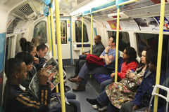 Inside view of the London underground Royalty Free Stock Photography