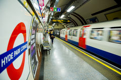 Inside view of London Underground stock images