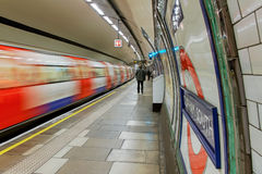 Inside view of London underground. Stock Photography