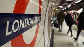 Inside view of London Underground, Tube Station. London Bridge Stock Photography