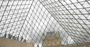 Inside view of Louvre Pyramid stock footage
