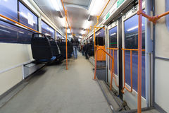 Inside view of a moving bus. Royalty Free Stock Photo