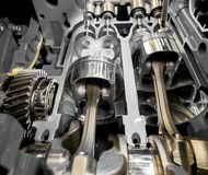 Inside View Of 4 Stroke Engine Cylinders, Pistons And Valves Royalty Free Stock Photos