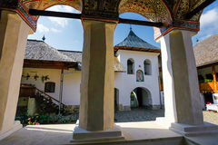 Inside view of the old orthodox Polovragi monastery seen trough Stock Photo