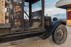 Inside view of old pickup truck. Passenger side view of an old pickup truck shoot at sunrise Stock Photography