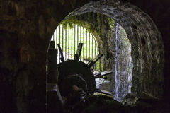 Inside view of an old water mill Royalty Free Stock Image