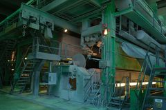 Inside view of a paper mill Royalty Free Stock Photos