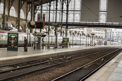 Inside view of Paris North Station, (Gare du Nord). PARIS, FRANCE -  APRIL 27:Inside view of Paris North Station, (Gare du Nord) on april 27, 2013 in Paris Royalty Free Stock Photos