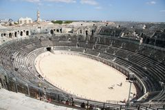 Inside view Roman Arena. Nimes, France royalty free stock photography