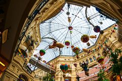 Roof view of GUM shopping mall in red square Moscow Russia. Inside view of the Roof of GUM shopping mall in red square Moscow Russia Royalty Free Stock Images