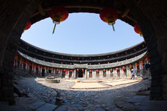 Inside view of the round Hakka earth building Stock Photo