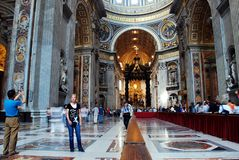 Inside view of Saint Peter's Basilica on May 31, 2014 Stock Image