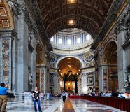 Inside view of Saint Peter's Basilica on May 31, 2014 Royalty Free Stock Photography