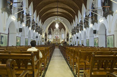 Inside view of Santhome Basilica cathedral church,Chennai,Tamil Nadu,India Royalty Free Stock Photo
