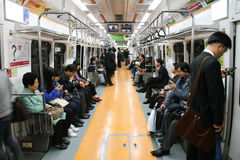 Inside view of Seoul Metropolitan Subway Stock Images
