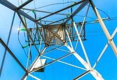 View of the structure under power transmission tower. Hi stock photography