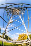 Inside view of the structure under power transmission tower royalty free stock photography