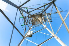 Inside view of the structure under power transmission tower stock photography