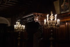 Beautiful Chandeliers and ceilings in Nesvizh castle stock image