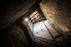 Inside view of the Torre Degli Asinelli at Bologna, Emilia Romagna, Italy. Inside view of the Torre Degli Asinelli stairs and access at Bologna, Emilia Romagna Stock Images