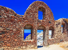 Inside view of Venetian castle in Oia village on Santorini island, Greece Royalty Free Stock Photo