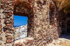 Inside view of Venetian castle in Oia village on Santorini island, Greece Stock Photography