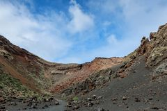 Inside a volcano caldera crater. Volcán El Cuervo, Lanzarote, Canary Islands stock photos