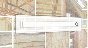 Inside wall heat isolation with mineral wool wooden house, build. Inside wall heat isolation with mineral wool in wooden house, building under construction photo Stock Photography