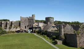Inside the walls of Manorbier castle in Wales Stock Photo