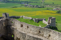 Inside the walls of Spis Castle with panorama of meadows - Spiss Royalty Free Stock Photo