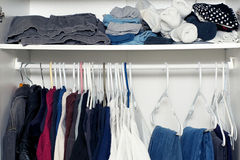 Inside wardrobe with shelf Royalty Free Stock Photography